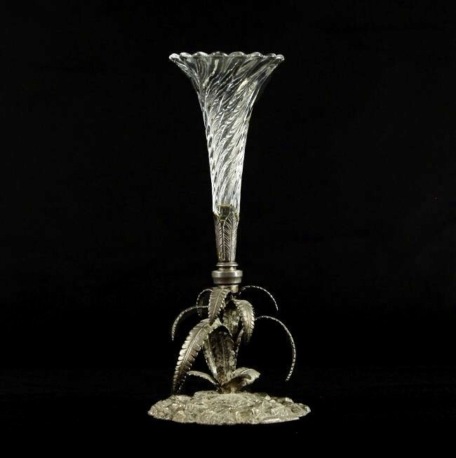 19TH CENTURY SILVERED BRONZE AND BACCARAT CRYSTAL VASE
