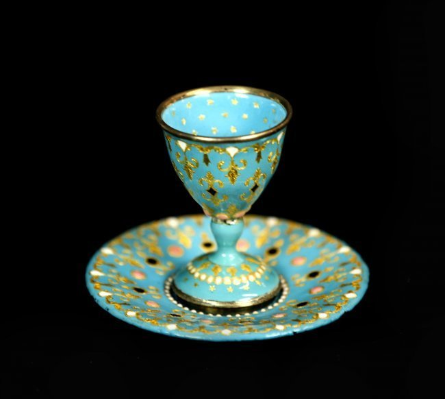 FRENCH ENAMEL ON SILVER CUP AND PLATE