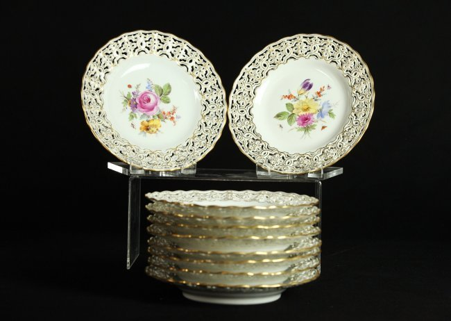 SET OF 10 RETICULATED MEISSEN PLATES CIRCA 1880