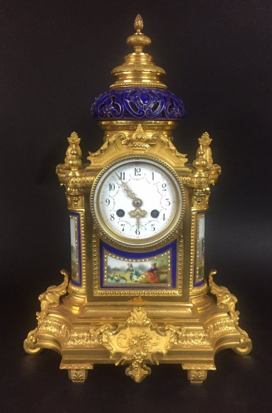 19TH CENTURY ORMOLU MOUNTED JEWELLED SEVRES CLOCK