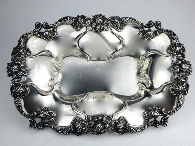 19TH C. STERLING SILVER DECORATIVE SERVING DISH
