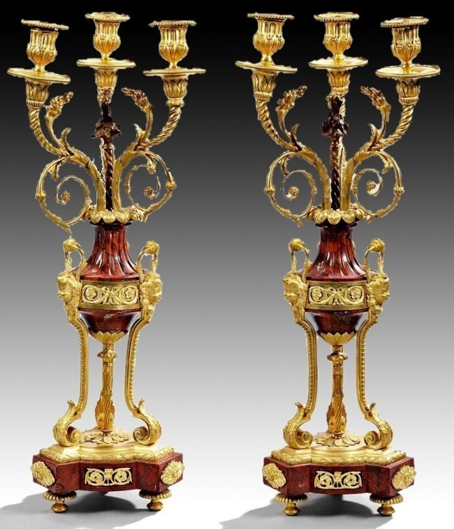 A VERY FINE PAIR OF ROUGES MARBLE AND ORMOLU CANELABRA
