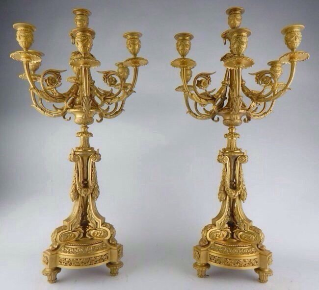 A MAGNIFICENT PAIR OF ORMOLU CANDELABRA