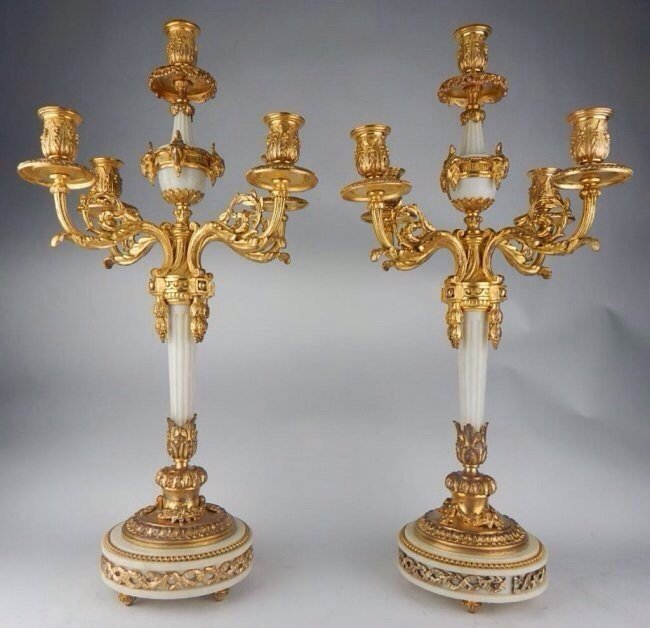 PAIR OF GILT BRONZE AND MARBLE CANDELABRA
