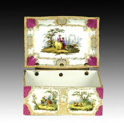 19TH CENTURY MEISSEN STYLE PORCELAIN BOX - 2