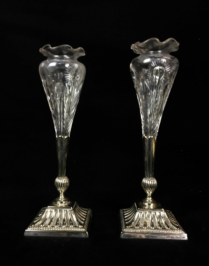 A PAIR OF MAPPIN AND WEB SILVER PLATE AND ETCHED GLASS