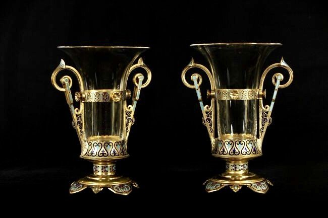 A LARGE PAIR OF 19TH C.  FRENCH CHAMPLEVE ENAMEL VASES