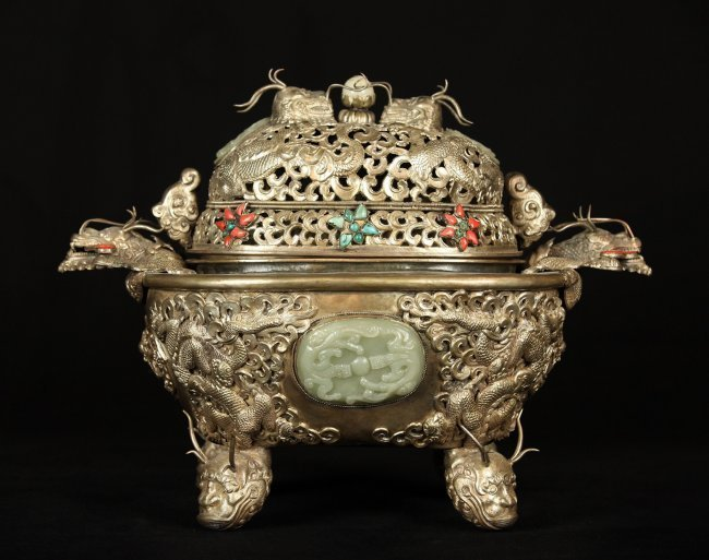 CHINESE CLAD SILVER INCENSE BURNER INSET WITH JADE