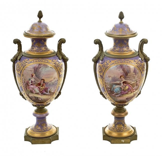 A PAIR OF 19TH CENTURY SEVRES PORCELAIN VASES