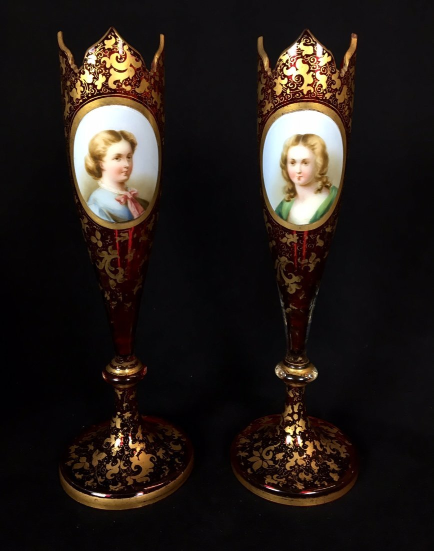 A PAIR OF 19TH CENTURY BOHEMIAN GLASS VASES