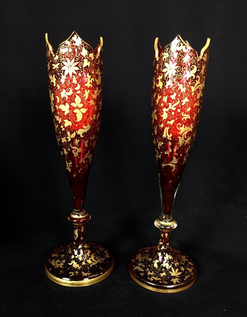 A PAIR OF 19TH CENTURY BOHEMIAN GLASS VASES - 2