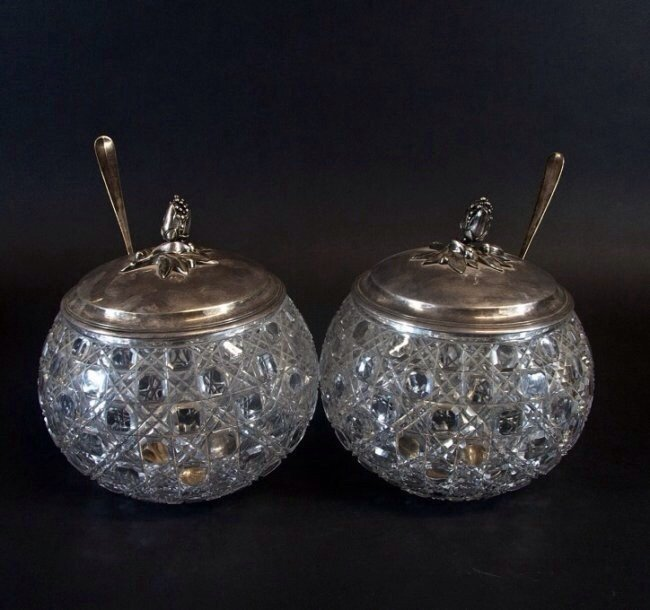 PAIR OF CHRISTOFEL BACCARAT GLASS & SILVER PLATED PUNCH