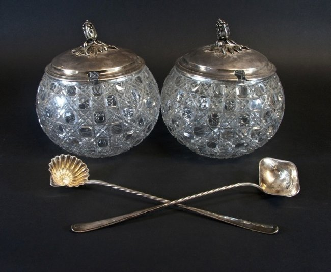 PAIR OF CHRISTOFEL BACCARAT GLASS & SILVER PLATED PUNCH - 2