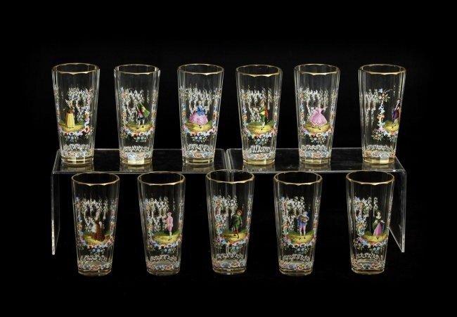 SET OF 11 ENAMELLED LOBMEYR GLASSES