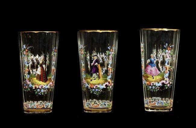 SET OF 11 ENAMELLED LOBMEYR GLASSES - 3