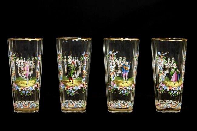 SET OF 11 ENAMELLED LOBMEYR GLASSES - 4