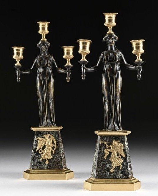 A PAIR OF 19TH C. EMPIRE STYLE BRONZE AND MARBLE CANDEL