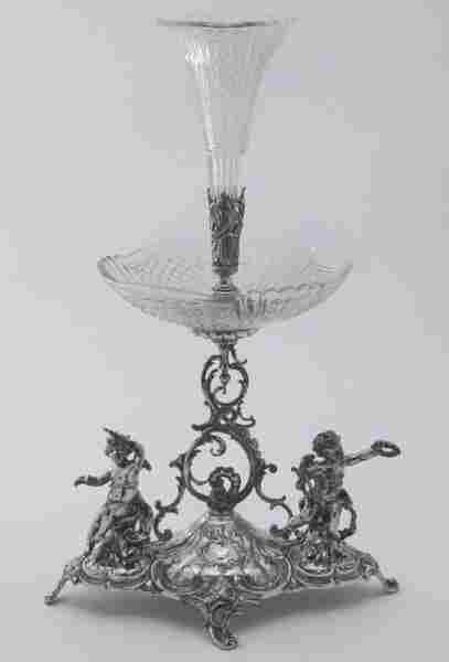 A FRENCH SILVER PLATE AND CUT CRYSTAL CENTERPIECE