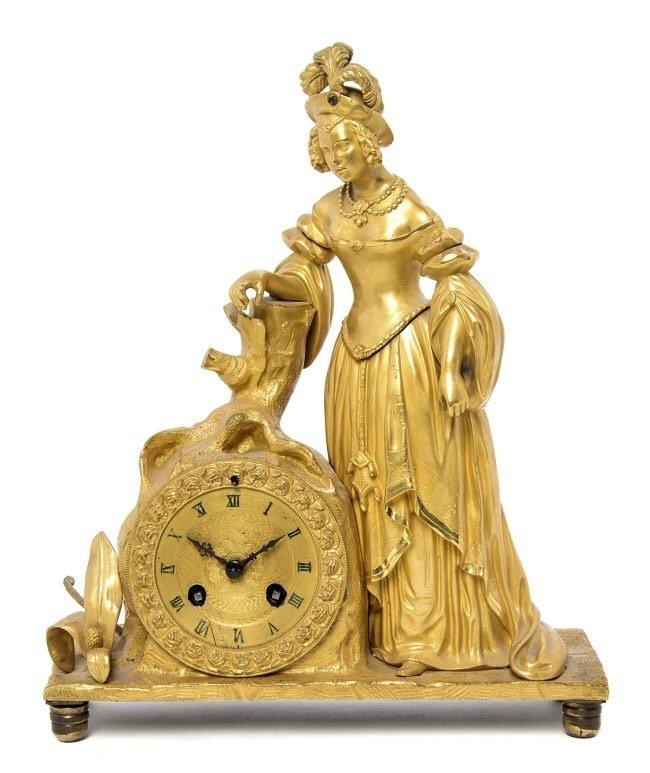 19TH CENTURY DORE BRONZE FIGURAL CLOCK