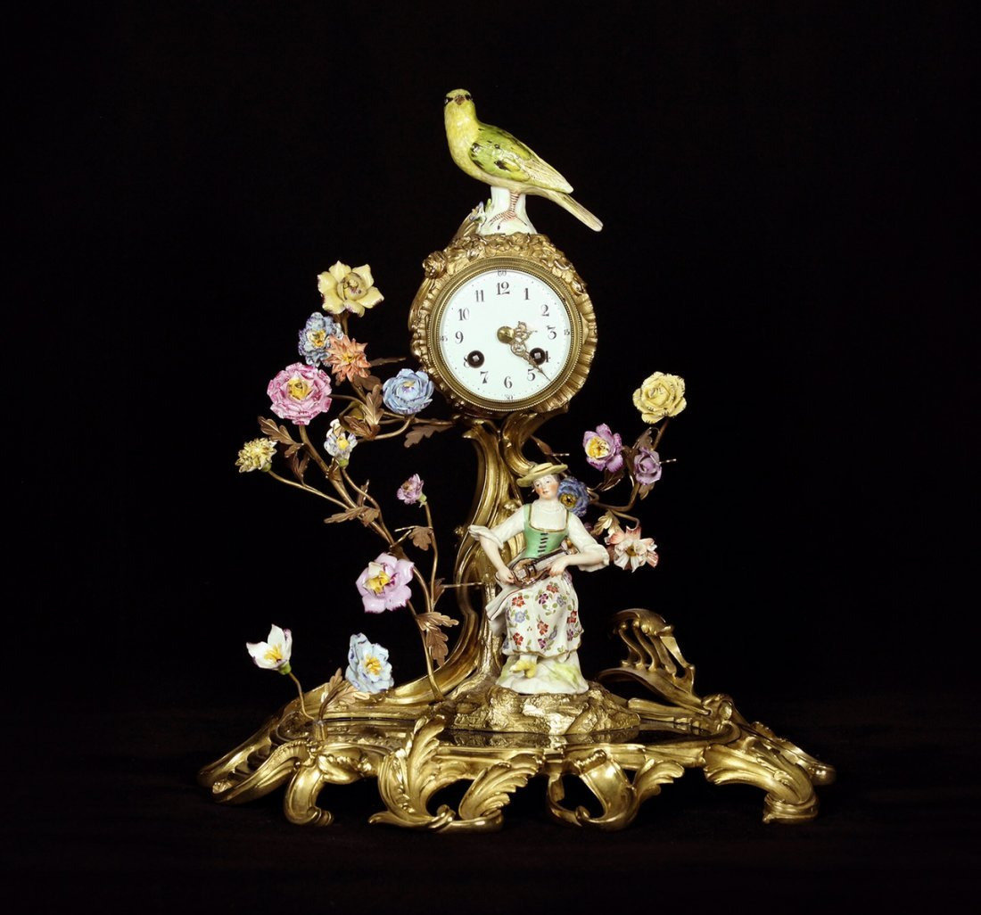 19TH C. DORE BRONZE AND MEISSEN STYLE PORCELAIN CLOCK