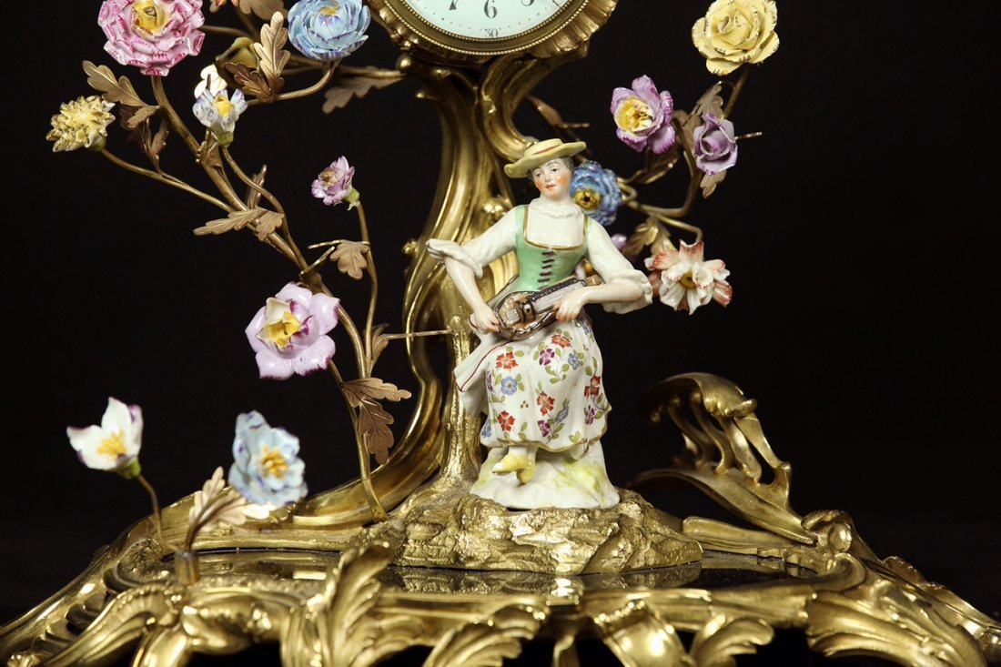 19TH C. DORE BRONZE AND MEISSEN STYLE PORCELAIN CLOCK - 2