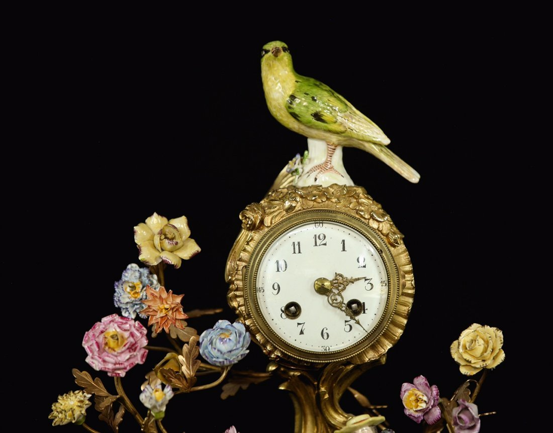 19TH C. DORE BRONZE AND MEISSEN STYLE PORCELAIN CLOCK - 4