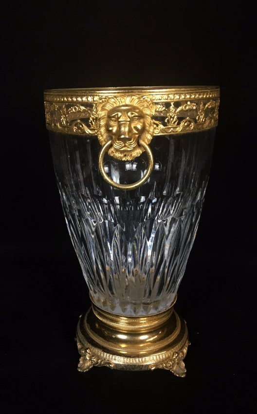 A LARGE DORE BRONZE MOUNTED BACCARAT ICE BUCKET - 2