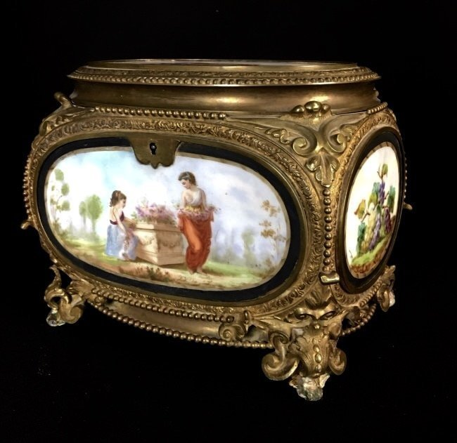 19TH C. FRENCH DORE BRONZE AND PORCELAIN BOX