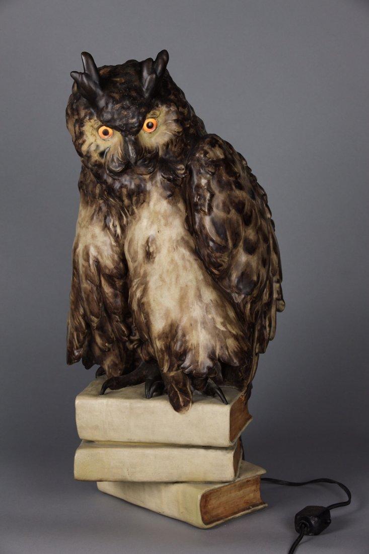 ANTIQUE GOLDCHEIDER TERRACAT OWL LAMP