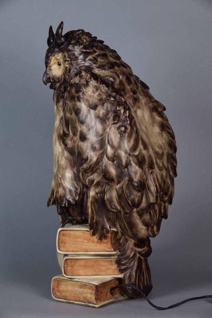 ANTIQUE GOLDCHEIDER TERRACAT OWL LAMP - 2