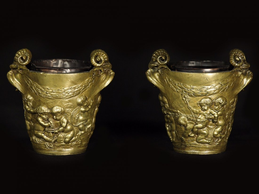 PAIR OF FRENCH DORE BRONZE CACHEPOTS