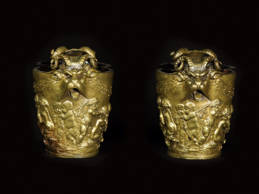 PAIR OF FRENCH DORE BRONZE CACHEPOTS - 2