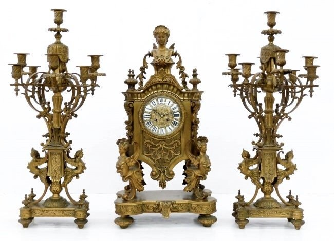 19TH CENTURY PALATIAL DORE BRONZE CLOCK GARNITURE