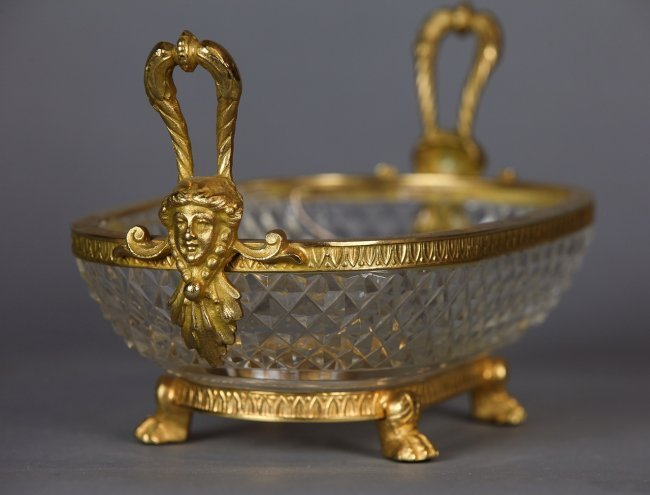 A BACCARAT CRYSTAL AND DORE BRONZE DISH