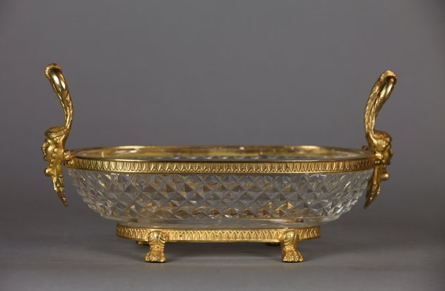A BACCARAT CRYSTAL AND DORE BRONZE DISH - 2