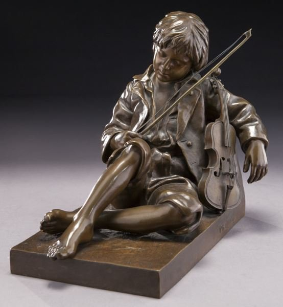 19TH CENTURY PATINATED BRONZE FIGURE OF A VIOLIN PLAYER