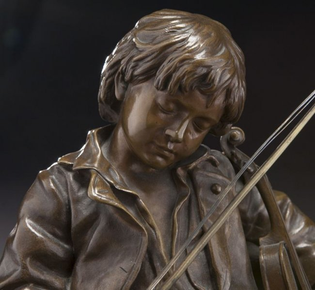 19TH CENTURY PATINATED BRONZE FIGURE OF A VIOLIN PLAYER - 2