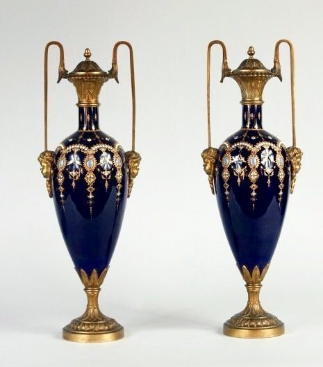 A PAIR OF FRENCH JEWELLED ENAMEL AND ORMOLU VASES
