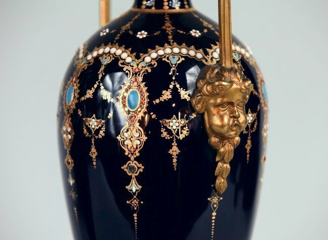 A PAIR OF FRENCH JEWELLED ENAMEL AND ORMOLU VASES - 2