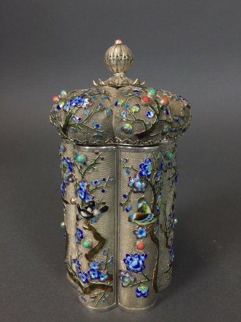 CHINESE SILVER ENAMEL TEA CADDY INSET WITH CORAL