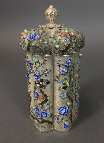 CHINESE SILVER ENAMEL TEA CADDY INSET WITH CORAL - 4