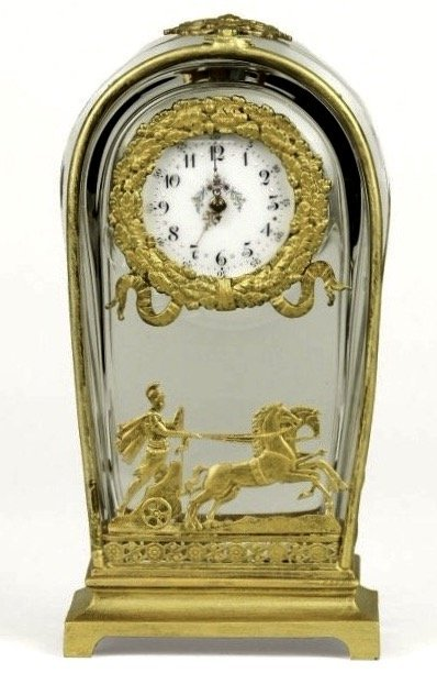 A VERY FINE DORE BRONZE AND BACCARAT GLASS CLOCK