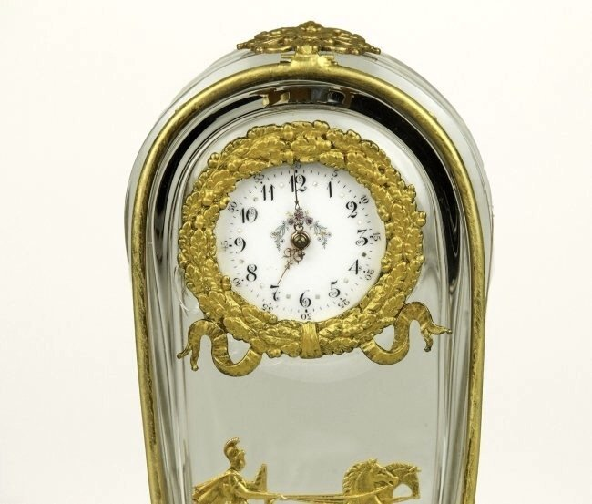 A VERY FINE DORE BRONZE AND BACCARAT GLASS CLOCK - 2