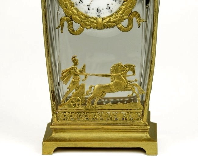 A VERY FINE DORE BRONZE AND BACCARAT GLASS CLOCK - 3