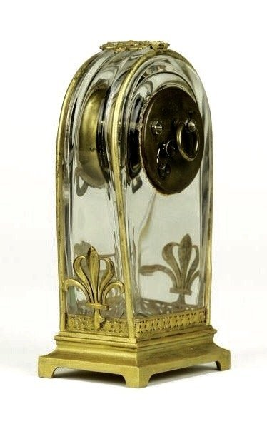 A VERY FINE DORE BRONZE AND BACCARAT GLASS CLOCK - 4
