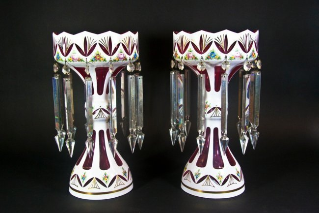 VERY LARGE PAIR OF BOHEMIAN GLASS LUSTERS