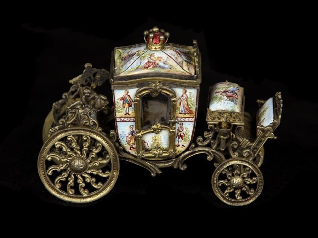 A SUPERB SILVER GILT VIENNESE AUSTRIAN ENAMEL CARRIAGE - 2