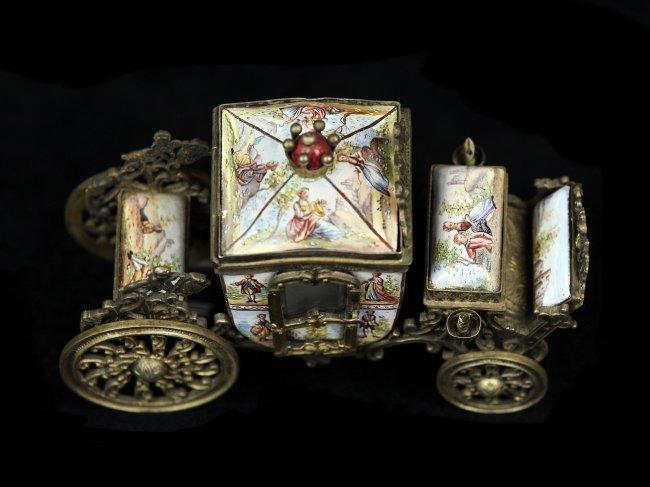 A SUPERB SILVER GILT VIENNESE AUSTRIAN ENAMEL CARRIAGE - 3