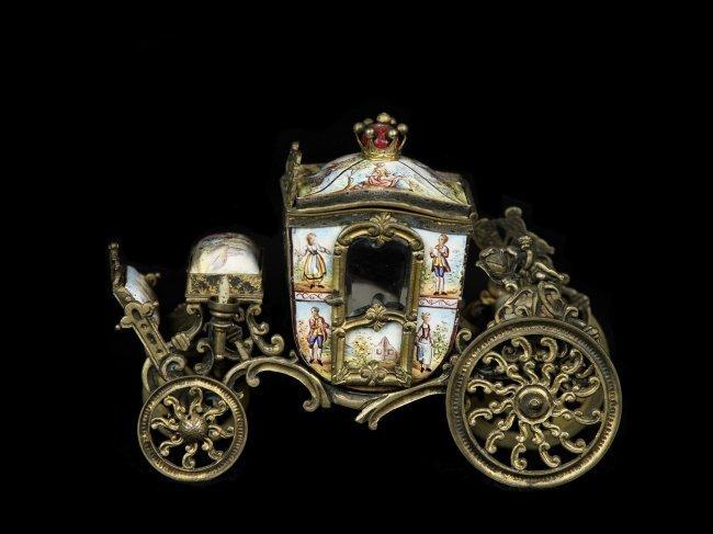 A SUPERB SILVER GILT VIENNESE AUSTRIAN ENAMEL CARRIAGE - 4