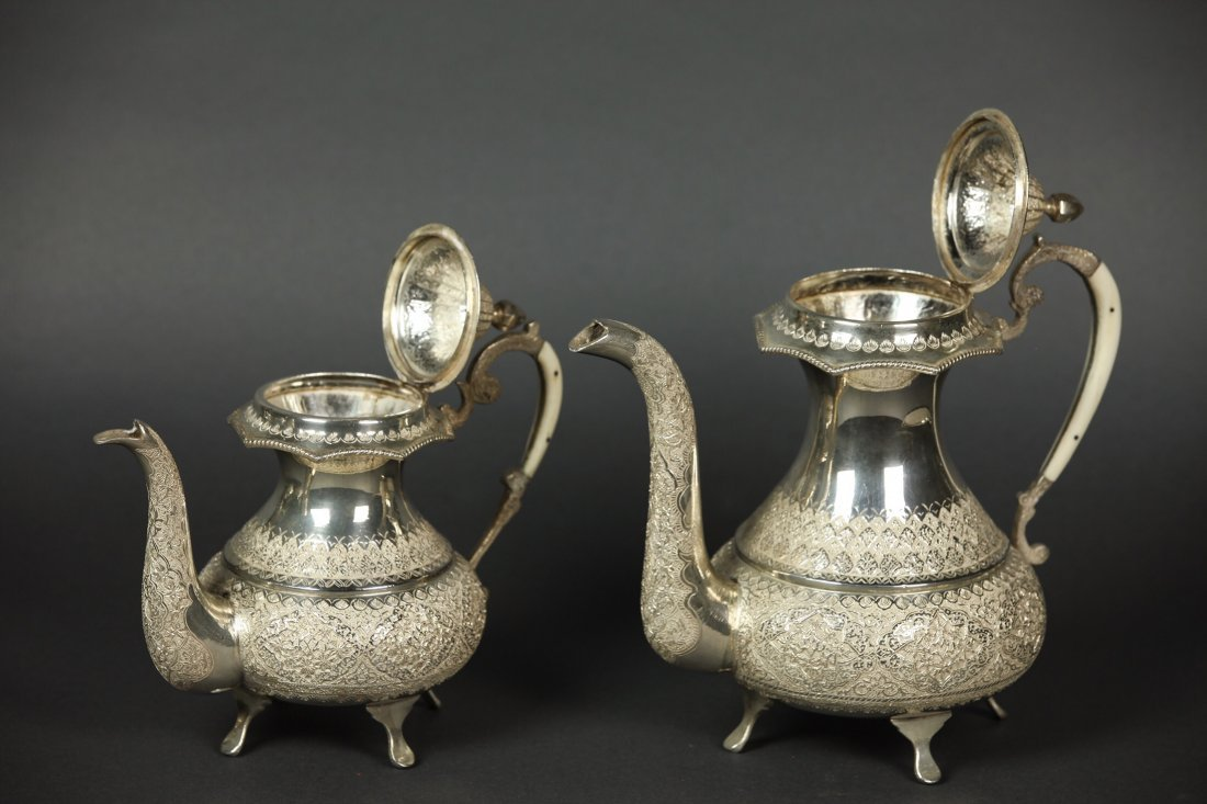 A LARGE IRANIAN SILVER TEA SET AND A TRAY - 2